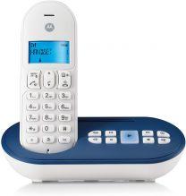 Motorola T111 Telefono Cordless DECT, Bianco/Blu